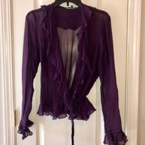 Lauren by Ralph Lauren Purple Sheer Blouse